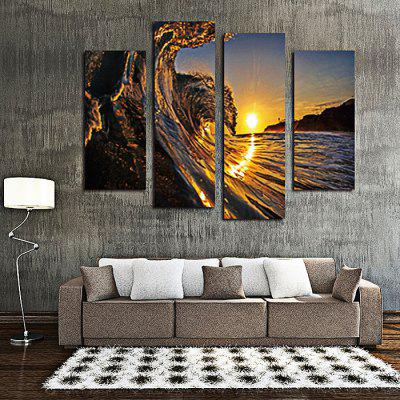 4PCS Sea Wave Printing  Canvas Print Unframed Wall Art