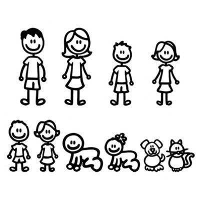 Cartoon Family Members Car Stickers Decoration