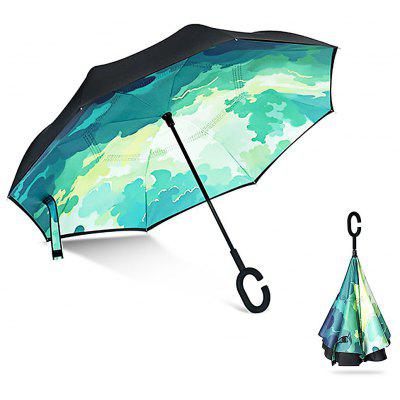 Buy GREEN Printed Windproof Inverted Umbrella for Car for $18.96 in GearBest store