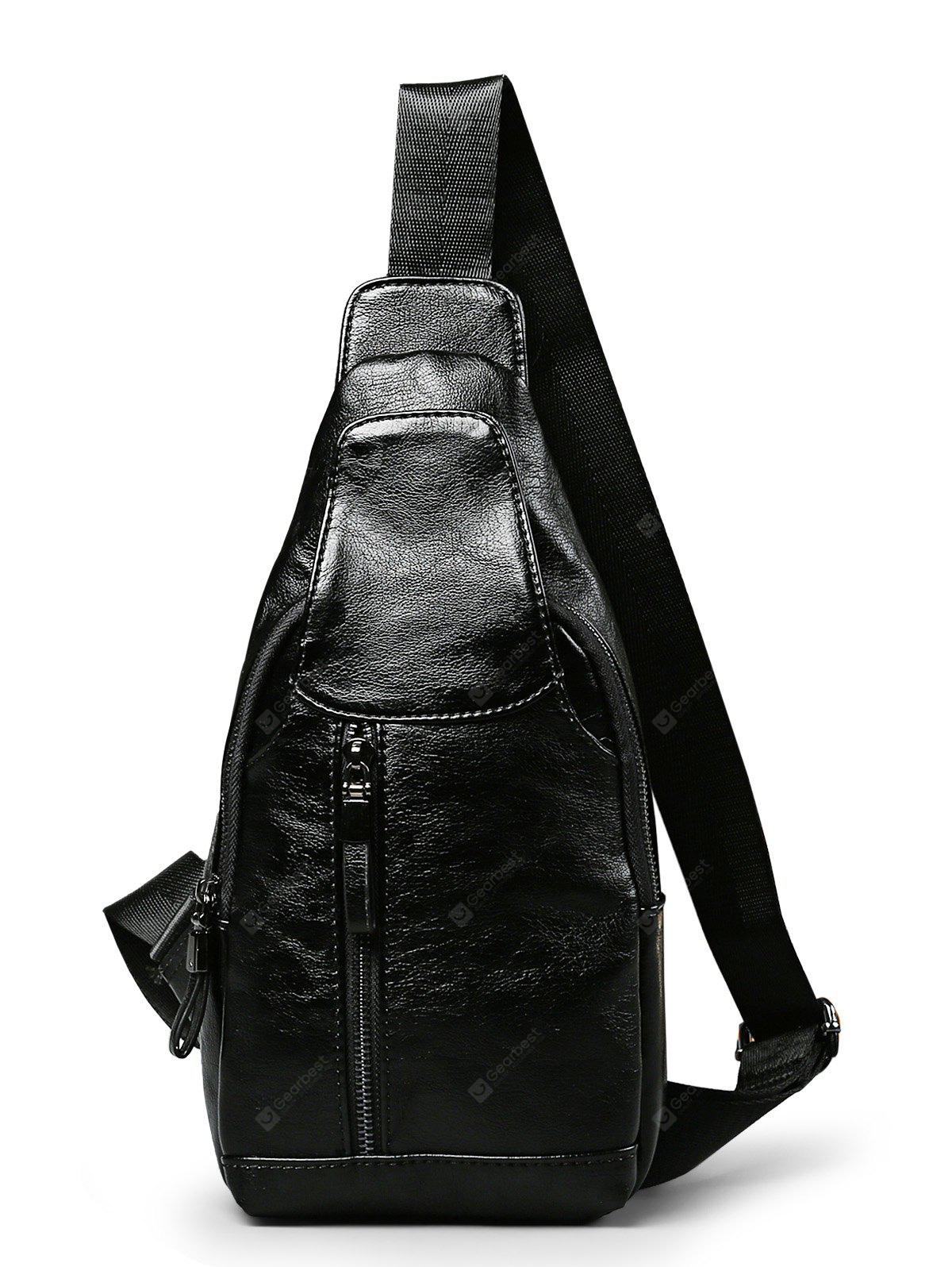 Vintage PU Textured-leather Men Chest Bag Crossbody Pack
