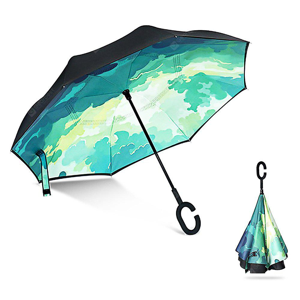 GREEN Printed Windproof Inverted Umbrella for Car