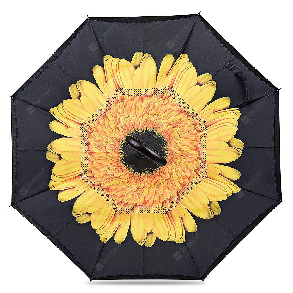 FLOWER Printed Windproof Inverted Umbrella for Car