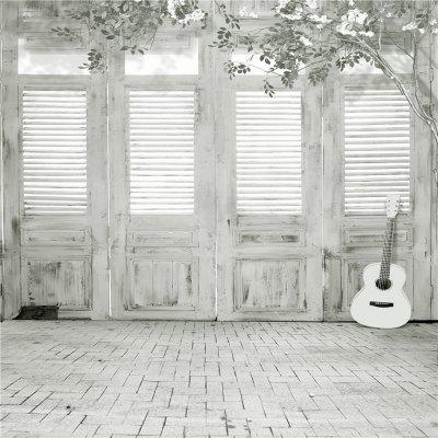 Wood Door with Guitar Photography Backdrop