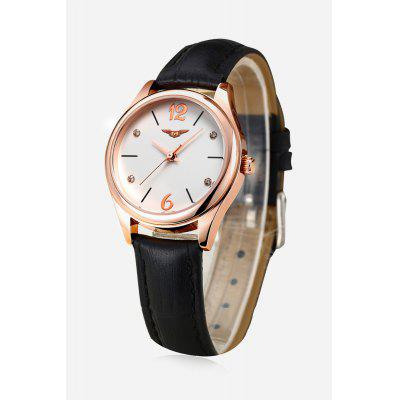 Leather Strap Rose Gold-plated Round Dial Water-resistant Women Quartz Watch