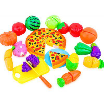 24pcs Pizza Vegetable Fruit Cutting Pretend Play Toy