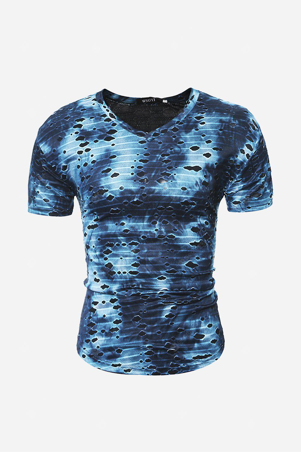 Men Ripped V Neck T-shirt