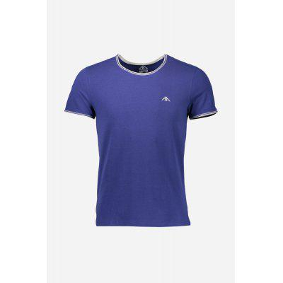 Men Summer Cotton T-shirt with Round Collar