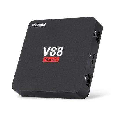 SCISHION V88 Mars II Smart TV BoxTV Box<br>SCISHION V88 Mars II Smart TV Box<br><br>Audio format: AAC, FLAC, MP3, OGG, RM, WMA<br>Brand: scishion<br>Core: Quad Core<br>CPU: ARM Cortex-A7<br>Decoder Format: H.265, H.264<br>DVD Support: No<br>External Subtitle Supported: Yes<br>GPU: Mali-400<br>HDMI Function: CEC<br>HDMI Version: 2.0<br>Language: English,Multi-language<br>Max. Extended Capacity: 32G<br>Model: V88 Mars II<br>Package Contents: 1 x TV Box, 1 x Power Adapter, 1 x HDMI Cable, 1 x English User Manual<br>Package size (L x W x H): 17.50 x 13.50 x 6.40 cm / 6.89 x 5.31 x 2.52 inches<br>Package weight: 0.3450 kg<br>Photo Format: PNG, JPG, JPEG<br>Power Consumption.: 5V 2A<br>Power Supply: Charge Adapter<br>Power Type: External Power Adapter Mode<br>Processor: RK3229<br>Product size (L x W x H): 9.20 x 9.20 x 1.70 cm / 3.62 x 3.62 x 0.67 inches<br>Product weight: 0.0750 kg<br>RAM: 2G RAM<br>RAM Type: DDR3<br>RJ45 Port Speed: 100M<br>ROM: 8G ROM<br>Support 5.1 Surround Sound Output: No<br>System: Android 6.0<br>System Bit: 32Bit<br>Type: TV Box<br>Video format: MKV, RM, VC-1, VP8, VP9, WMV, H.265, H.264, DAT, AVI, 4K, MP4<br>WiFi Chip: 6051P