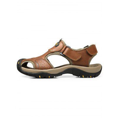 Men Genuine Leather Casual SandalsMens Sandals<br>Men Genuine Leather Casual Sandals<br><br>Color: Light Brown<br>Contents: 1 x Pair of Sandals<br>Materials: Genuine Leather, Rubber<br>Occasion: Casual<br>Package Size ( L x W x H ): 33.00 x 22.00 x 11.00 cm / 12.99 x 8.66 x 4.33 inches<br>Package Weights: 0.8700kg<br>Seasons: Summer<br>Style: Leisure, Fashion, Comfortable, Casual<br>Type: Sandals
