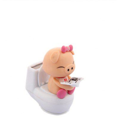 Car Reading On Toilet Bowl Pig Solar Toy