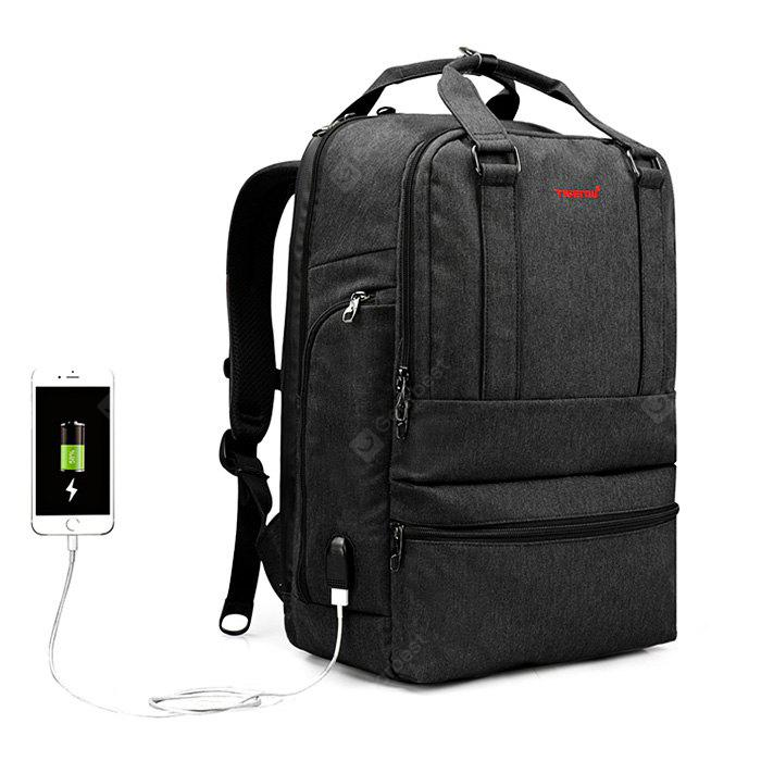 BLACK GRAY Tigernu T B3243 USB Port 26L Leisure Backpack Laptop Bag