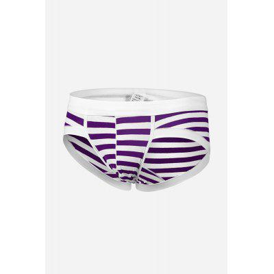 Buy PURPLE M Men Striped Breathable Cotton Briefs with U-pouch for $6.20 in GearBest store
