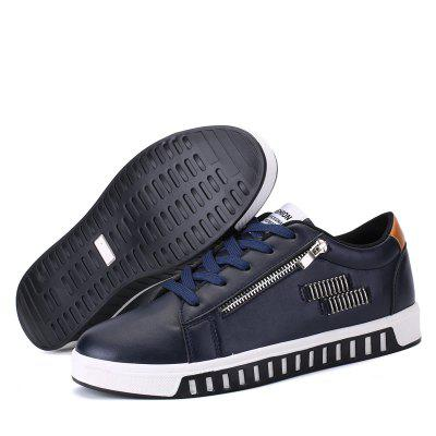 Men Fashion PU Side-zipper Lace-up Flat ShoesMen's Sneakers<br>Men Fashion PU Side-zipper Lace-up Flat Shoes<br><br>Contents: 1 x Pair of Casual Shoes<br>Materials: PU, Rubber<br>Occasion: Casual, Daily<br>Package Size ( L x W x H ): 31.00 x 21.00 x 11.00 cm / 12.2 x 8.27 x 4.33 inches<br>Package Weights: 0.84kg<br>Seasons: Autumn,Spring,Summer,Winter<br>Style: Leisure, Fashion, Comfortable<br>Type: Casual Shoes