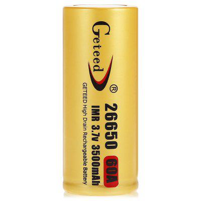Geteed 26650 Li-ion Rechargeable BatteryBatteries<br>Geteed 26650 Li-ion Rechargeable Battery<br><br>Battery: 26650<br>Battery Type: Lithium-ion<br>Brand: Geteed<br>Capacity (mAh): 3500mAh<br>Charge Current: 3500mA<br>Charging Time.: 8 Hours<br>Discharge Current: 60000mA<br>Head Type: Button Top<br>Max. Discharge Current: 80000mA<br>Package Contents: 2 x Geteed 26650 Li-ion Battery<br>Package size (L x W x H): 3.50 x 3.50 x 7.50 cm / 1.38 x 1.38 x 2.95 inches<br>Package weight: 0.1200 kg<br>Product size (L x W x H): 2.60 x 2.60 x 6.50 cm / 1.02 x 1.02 x 2.56 inches<br>Product weight: 0.0850 kg<br>Protected: No<br>Rechargeable: Yes<br>Type: Battery<br>Voltage(V): 3.7V