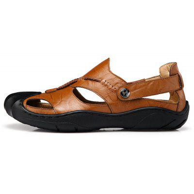 Genuine Leather Casual Sandals for MenMens Sandals<br>Genuine Leather Casual Sandals for Men<br><br>Closure Type: Slip-On<br>Contents: 1 x Pair of Shoes<br>Materials: Genuine Leather<br>Occasion: Daily<br>Outsole Material: Rubber<br>Package Size ( L x W x H ): 33.00 x 20.00 x 13.00 cm / 12.99 x 7.87 x 5.12 inches<br>Seasons: Summer<br>Style: Leisure, Fashion, Comfortable<br>Type: Sandals<br>Upper Material: Genuine Leather