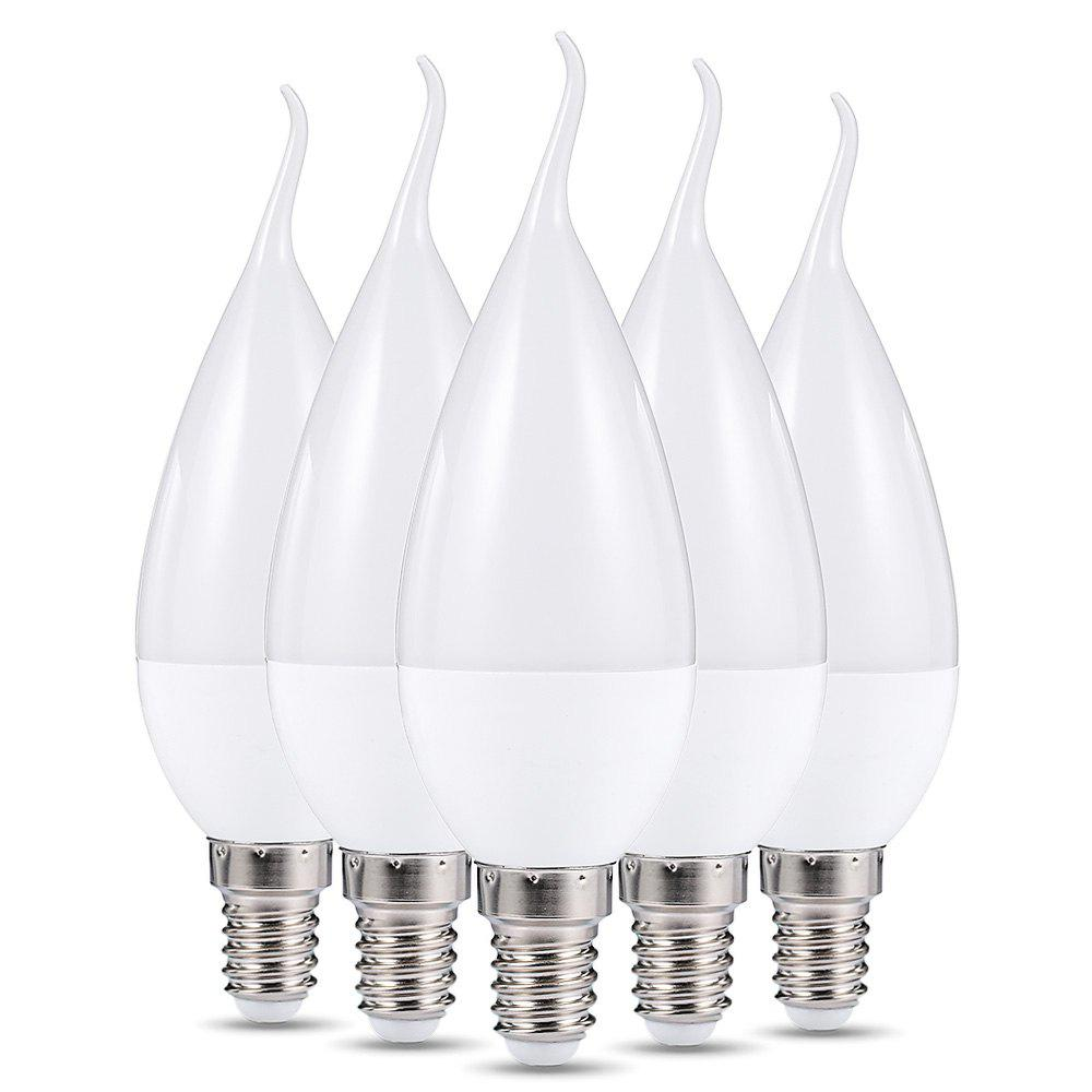 WARM WHITE LIGHT F37 5PCS LED E14 Candle Bulb