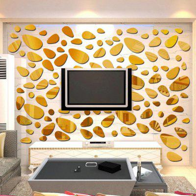 Buy GOLDEN DIY Mirror Cobblestone Acrylic Removable Wall Sticker for $9.96 in GearBest store