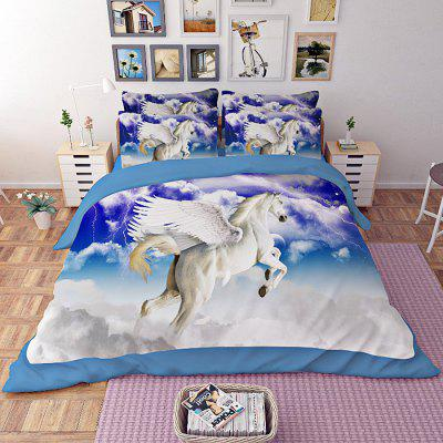 Set da letto in poliestere a 4 pezzi Flying Angel Horse Pattern