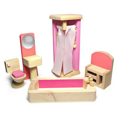 Buy COLORMIX 1:12 Scale Doll House Bathroom 5pcs Wooden Furniture for $11.03 in GearBest store