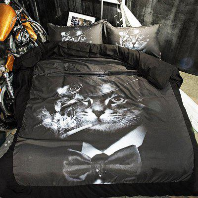 Buy COLORMIX 4-piece Polyester Bedding Set Smoking Cat Pattern for $62.64 in GearBest store