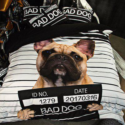 Buy COLORMIX 5-piece Polyester Bedding Set Bad Dog Pattern for $83.55 in GearBest store