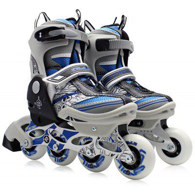 Buy BLUE L AODESAI Pair of Kids Racing Single Row Roller Skating Shoes for $65.46 in GearBest store
