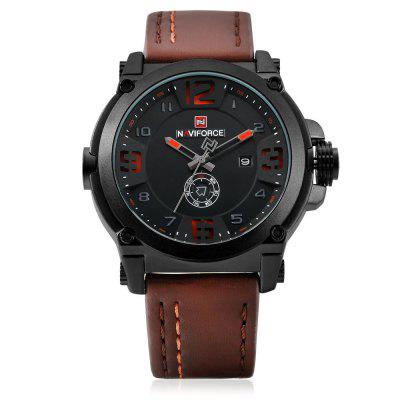 NAVIFORCE 9099 Fashion Men WristwatchMens Watches<br>NAVIFORCE 9099 Fashion Men Wristwatch<br><br>Available Color: Black,Khaki,Orange,Red<br>Band material: PU<br>Band size: 24.5 x 2.3cm<br>Brand: Naviforce<br>Case material: Alloy<br>Clasp type: Pin buckle<br>Dial size: 4.55 x 4.55 x 1.4cm<br>Display type: Analog<br>Movement type: Quartz watch<br>Package Contents: 1 x Wristwatch<br>Package size (L x W x H): 26.50 x 6.55 x 3.40 cm / 10.43 x 2.58 x 1.34 inches<br>Package weight: 0.1260 kg<br>Product size (L x W x H): 24.50 x 4.55 x 1.40 cm / 9.65 x 1.79 x 0.55 inches<br>Product weight: 0.0930 kg<br>Shape of the dial: Round<br>Special features: Date, Day<br>Watch style: Fashion<br>Watches categories: Men<br>Water resistance: 30 meters<br>Wearable length: 18.5 - 23.5cm