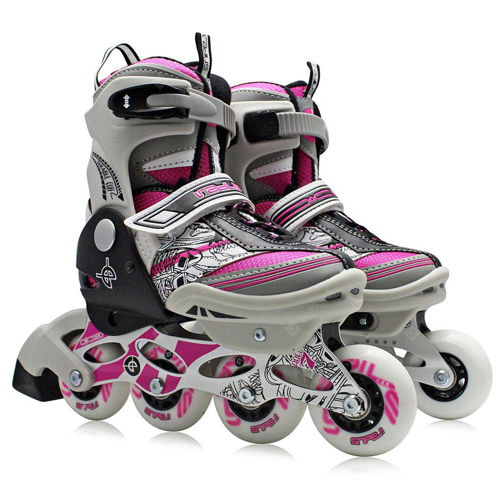 PINK L AODESAI Pair of Kids Racing Single Row Roller Skating Shoes