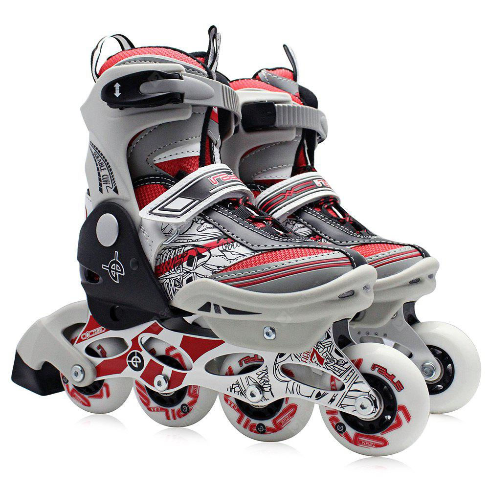 RED M AODESAI Pair of Kids Racing Single Row Roller Skating Shoes