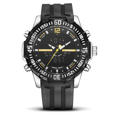 WEIDE 6105 Sports Men WatchMens Watches<br>WEIDE 6105 Sports Men Watch<br><br>Available Color: Orange,Red,White,Yellow<br>Band material: Silicone<br>Band size: 21 x 2.4cm<br>Brand: Weide<br>Case material: Zinc Alloy<br>Clasp type: Pin buckle<br>Dial size: 5.15 x 5.15 x 1.7cm<br>Display type: Analog-Digital<br>Movement type: Double-movtz<br>Package Contents: 1 x Watch<br>Package size (L x W x H): 21.00 x 5.15 x 1.70 cm / 8.27 x 2.03 x 0.67 inches<br>Package weight: 0.1900 kg<br>Product size (L x W x H): 21.00 x 5.15 x 1.70 cm / 8.27 x 2.03 x 0.67 inches<br>Product weight: 0.1500 kg<br>Shape of the dial: Round<br>Watch style: Trends in outdoor sports<br>Watches categories: Men<br>Water resistance: 30 meters