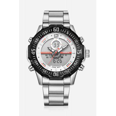 6105 Casual Men WristwatchMens Watches<br>6105 Casual Men Wristwatch<br><br>Available Color: Orange,Red,White,Yellow<br>Band material: Stainless Steel<br>Band size: 21 x 2.4cm<br>Brand: Weide<br>Case material: Zinc Alloy<br>Clasp type: Folding clasp with safety<br>Dial size: 5.15 x 5.15 x 1.7cm<br>Display type: Analog-Digital<br>Movement type: Double-movtz<br>Package Contents: 1 x Wristwatch<br>Package size (L x W x H): 21.00 x 5.15 x 1.70 cm / 8.27 x 2.03 x 0.67 inches<br>Package weight: 0.1900 kg<br>Product size (L x W x H): 21.00 x 5.15 x 1.70 cm / 8.27 x 2.03 x 0.67 inches<br>Product weight: 0.1500 kg<br>Shape of the dial: Round<br>Watch style: Trends in outdoor sports, Casual<br>Watches categories: Men<br>Water resistance: 30 meters