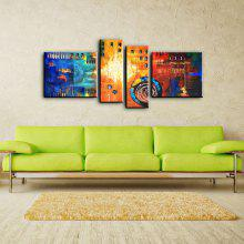 4PCS YHHP Colorful Canvas Abstract Oil Painting