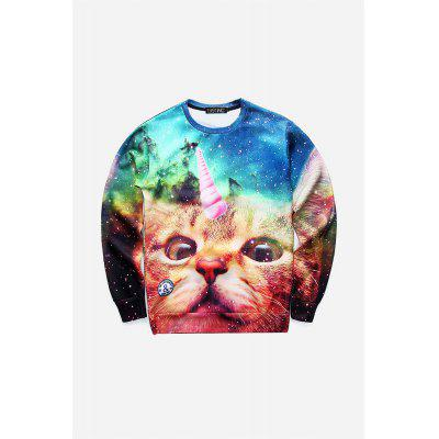 Fashion 3D Cat Printed Sweater for Men