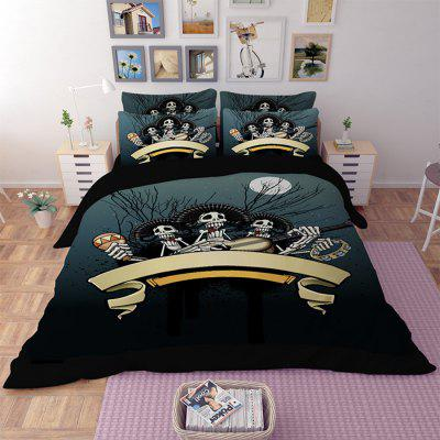 Buy COLORMIX 5-piece Polyester Bedding Set Ghosts Playing Music Pattern for $94.42 in GearBest store