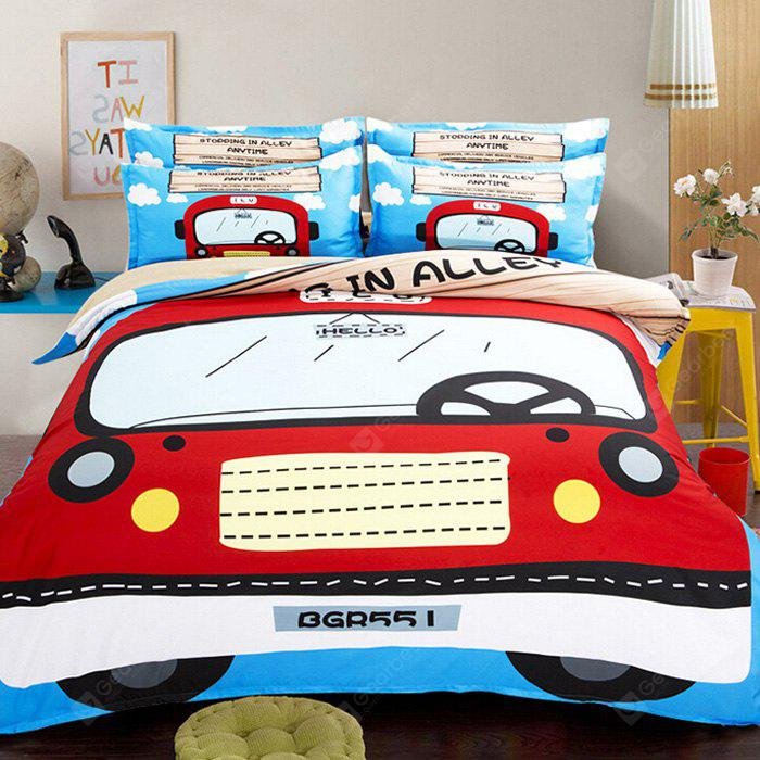 COLORMIX 5-piece Polyester Bedding Set Red Car Pattern