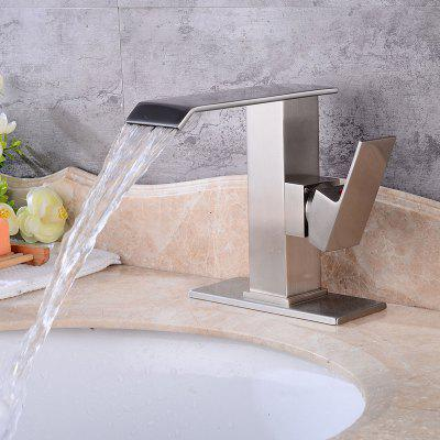 Buy SILVER Waterfall Single Handle Brushed Bathroom Sink Faucet for $78.16 in GearBest store
