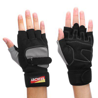 Pair of BOER Men Half-finger Cycling Sports Exercise Gloves