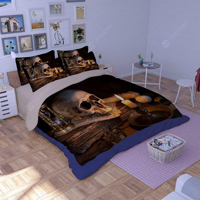 COLORMIX 5-piece Polyester Bedding Set Skull / Lighted Candle Pattern