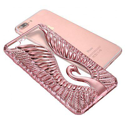 Luxury Gold Plating Swan Relief Soft TPU Phone Case Cover for iPhone 7 Plus
