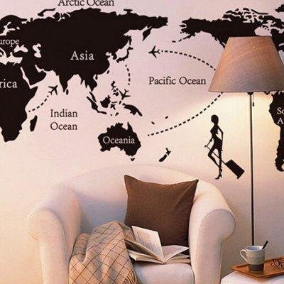 Buy BLACK World Map Home Decor Wallpaper Wall Sticker Mural for $6.39 in GearBest store