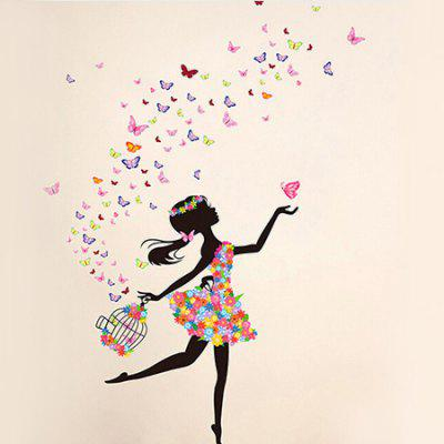 Buy COLORFUL Dancing Girl DIY Home Decor Wallpaper Wall Sticker for $7.73 in GearBest store