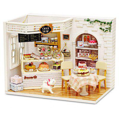 Buy COLORMIX DIY Miniature Wooden Cake Shop Dollhouse with LED Light for $23.36 in GearBest store