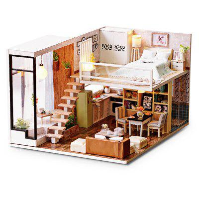 Buy DIY Wooden Miniature Dollhouse with LED Light COLORMIX for $35.99 in GearBest store