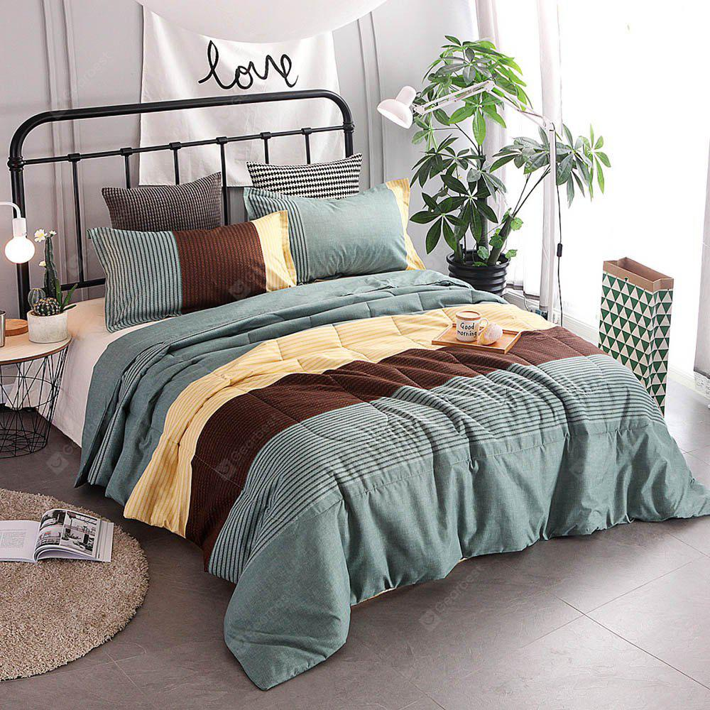COLORMIX 3-piece Polyester Bedding Set Cyan / Brown / Yellow Stripes