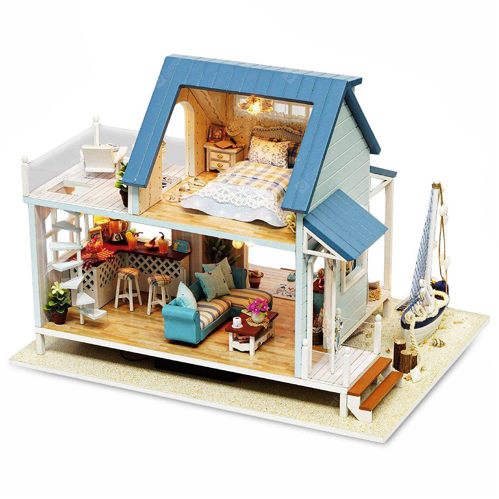 DIY Miniature Wooden Sea View Dollhouse with LED Light