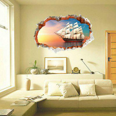 Buy COLORMIX Afloat Sailboat Style Wall Sticker for $6.62 in GearBest store