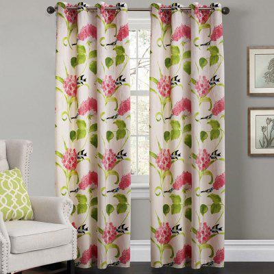 Ink-jet Printing Flowers / Leaves Window Curtains 52 x 63 inch