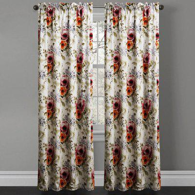 Ink-jet Printing Elegant Flowers Window Curtains 52 x 63 inch