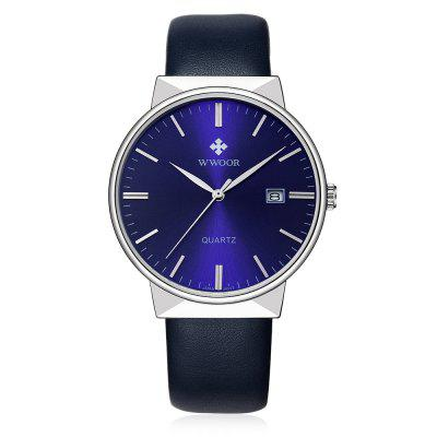 WWOOR 8826 Business Men WatchMens Watches<br>WWOOR 8826 Business Men Watch<br><br>Available Color: Black,Blue,Gold,White<br>Band material: Genuine Leather<br>Band size: 23 x 2cm<br>Case material: Alloy<br>Clasp type: Pin buckle<br>Dial size: 4.05 x 4.05 x 0.95cm<br>Display type: Analog<br>Movement type: Quartz watch<br>Package Contents: 1 x Watch<br>Package size (L x W x H): 25.00 x 6.05 x 2.95 cm / 9.84 x 2.38 x 1.16 inches<br>Package weight: 0.0820 kg<br>Product size (L x W x H): 23.00 x 4.05 x 0.95 cm / 9.06 x 1.59 x 0.37 inches<br>Product weight: 0.0420 kg<br>Shape of the dial: Round<br>Watch style: Business<br>Watches categories: Men<br>Water resistance : Life water resistant