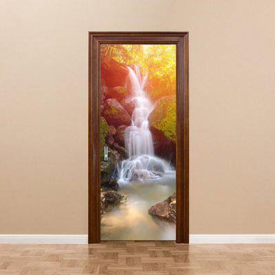 DM040 3D Thailand Forest Waterfall Door Sticker